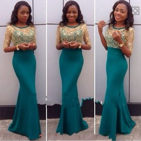 Turquoise Mesh Lace Top Long Sleeve Long Mermaid Prom Dress