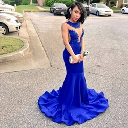 Royal Blue Sheer Lace Applique Open Back Mermaid Long Prom Dress