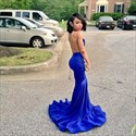 Royal Blue Sheer Lace Applique Open Back Mermaid Long Prom Dress