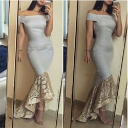 Grey Off The Shoulder Lace Embellished Mermaid High Low Dress