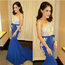 Two Tone Lace Applique One Shoulder Long Mermaid Prom Dress