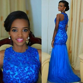 Royal Blue Long  Lace Beaded Embellished Tulle Prom Dress