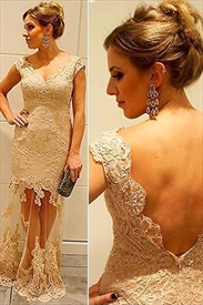 Ivory Backless Cap Sleeve Lace Sheath Formal Dress With Sheer Overlay