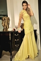 Yellow One Shoulder Long Sleeve Lace Embellished Mermaid Formal Dress