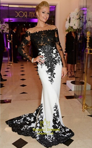 Sheer Lace Applique Long Sleeve Sheath Floor Length Prom Dress
