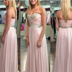Blush Pink Strapless Beaded Ruched Bodice Long Bridesmaid Dress