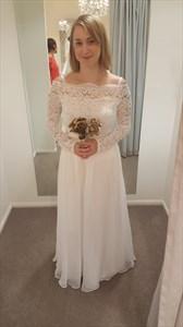 Ivory Lace Bodice Chiffon Skirt A Line Long Sleeve Bridesmaid Dress