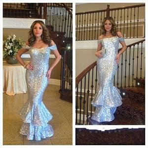 Silver Off The Shoulder Sequin Mermaid Long Bridesmaid Dress