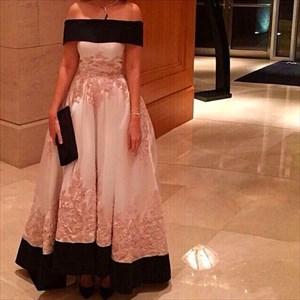 Elegant Off The Shoulder Lace Embellished Ball Gown Prom Dress