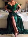 Emerald Green Off The Shoulder V Neck Lace Top Side Slit Formal Dress