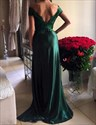 Emerald Green Off The Shoulder V Neck Lace Top Side Slit Formal Dress