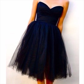 Navy Blue Simple Short Strapless Sweetheart Tulle Party Dress