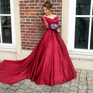 Burgundy V Neck Long Sleeve Lace Bodice Ball Gown Prom Dress