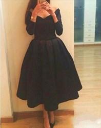 Black V Neck Long Sleeve Tea Length Short Bridesmaid Dress