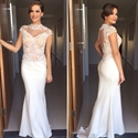 Ivory High Neck Cap Sleeve Prom Dress With Lace Embellished Bodice