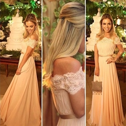 Blush Pink Off The Shoulder Embellished Long Chiffon Bridesmaid Dress