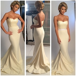 Ivory Strapless Sweetheart Sequin Top Mermaid Long Prom Dress