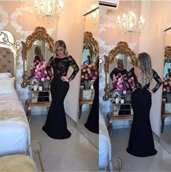 Black Long Sleeve Lace Bodice Backless Long Mermaid Prom Dress