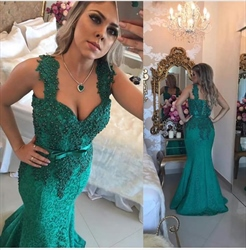 Teal Beaded Lace Embellished Mermaid Long Formal Prom Dress