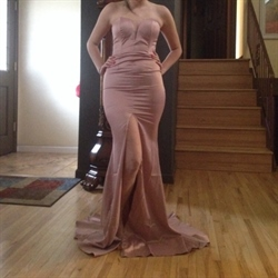 Pink Strapless Full Length Sweetheart Long Bridesmaid Dress