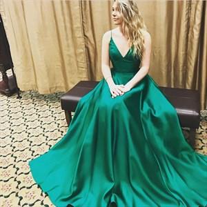 Emerald Green V Neck Spaghetti Strap Full Length Evening Prom Dress