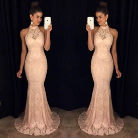 Blush Pink Halter High Neck Sheer Lace Mermaid Formal Dress