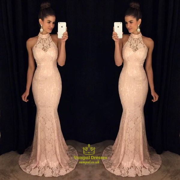 34bb9dcaa977 Blush Pink Halter High Neck Sheer Lace Mermaid Formal Dress | Vampal ...