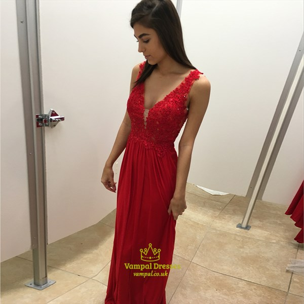 Red V Neck Lace Embellished Bodice Backless Long Bridesmaid Dress
