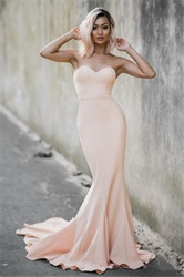 Elegant Peach Strapless Sweetheart Long Mermaid Formal Dress