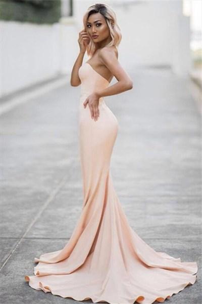 Elegant Peach Strapless Sweetheart Long Mermaid Formal Dress