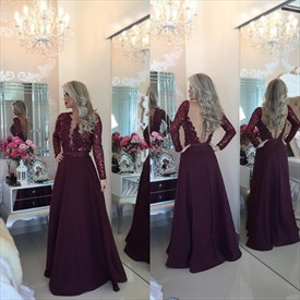 Burgundy Deep V Neck Sequin Top Long Sleeve Backless Evening Dress