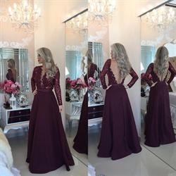 Burgundy Deep V Neck Sequin Top Long Sleeve Backless Evening Dress