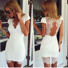 White Short Lace Applique Open Back Short Sleeve Homecoming Dress