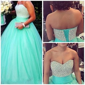 Turquoise Beaded Corset Top Strapless Ball Gown Evening Dress