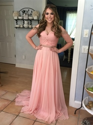 Pink Twist Front Beaded Embellished Prom Dress With Straps