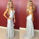 Silver Backless V Neck Sequin Sheath Long Evening Dress