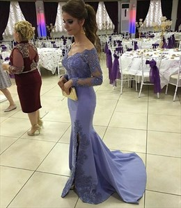 Lilac Lace Embellished Long Sleeve Side Split Evening Dress