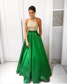 Two Tone Beaded Bodice Halter Top Floor Length Formal Dress