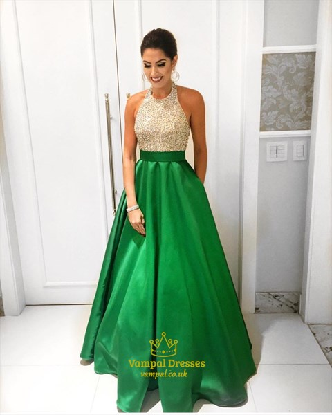 Two Tone Beaded Bodice Halter Top Floor Length Formal Dress