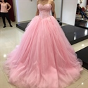 Pink Strapless Tulle Ball Gown With Lace Embellished Bodice