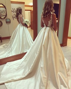 Ivory V Neck Sheer Lace Top Ball Gown Evening Prom Dress