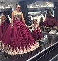 Burgundy Strapless Lace Embellished Ball Gown Evening Dress