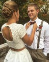 Ivory Two Piece Short Sleeve Beaded Top Homecoming Dresses