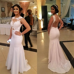 White Sheer Lace Applique Backless Mermaid Long Prom Dress