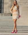 Two Piece Lace Applique Long Sleeve Short Sheath Formal Dress
