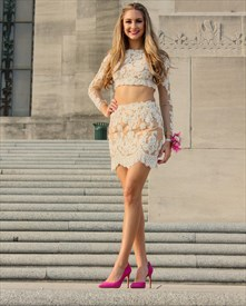 Two Piece Lace Applique Long Sleeve Short Sheath Formal Dress