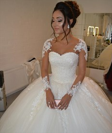 Ivory Lace Beaded Ball Gown Wedding Dress With Sheer Long Sleeves