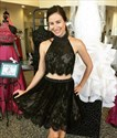 Black Short Two Piece Sheer Lace High Neck Party Dress