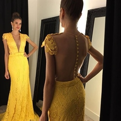 Yellow Cap Sleeve V Neck Sheer Back Floor Length Lace Formal Dress