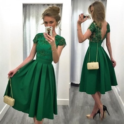 Emerald Green Cap Sleeve Backless Tea Length Homecoming Dress